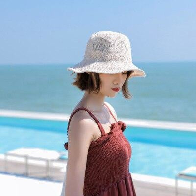 Fashion Solid Wide Brim Foldable Knit Floppy Hats | Bridelily - Beige - floppy hats
