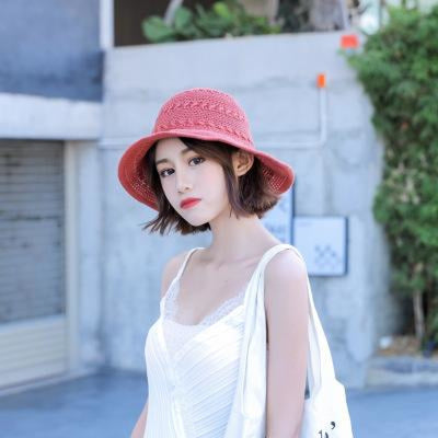 Fashion Solid Wide Brim Foldable Knit Floppy Hats | Bridelily - Brick red - floppy hats