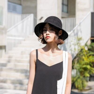 Fashion Solid Wide Brim Foldable Knit Floppy Hats | Bridelily - black - floppy hats