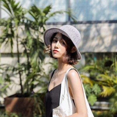 Fashion Solid Wide Brim Foldable Knit Floppy Hats | Bridelily - gray - floppy hats