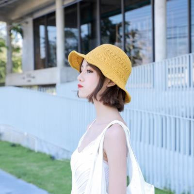 Fashion Solid Wide Brim Foldable Knit Floppy Hats | Bridelily - yellow - floppy hats
