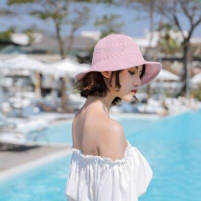 Fashion Solid Wide Brim Foldable Knit Floppy Hats | Bridelily - Pink - floppy hats