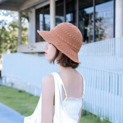 Fashion Solid Wide Brim Foldable Knit Floppy Hats | Bridelily - caramel colour - floppy hats