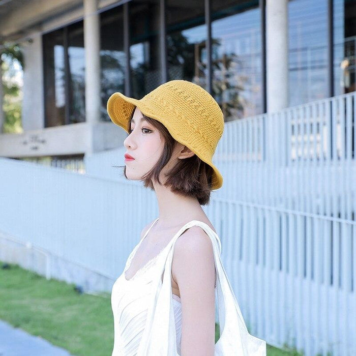 Fashion Solid Wide Brim Foldable Knit Floppy Hats | Bridelily - floppy hats