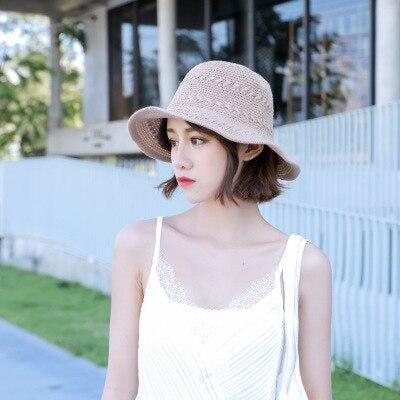 Fashion Solid Wide Brim Foldable Knit Floppy Hats | Bridelily - Khaki - floppy hats