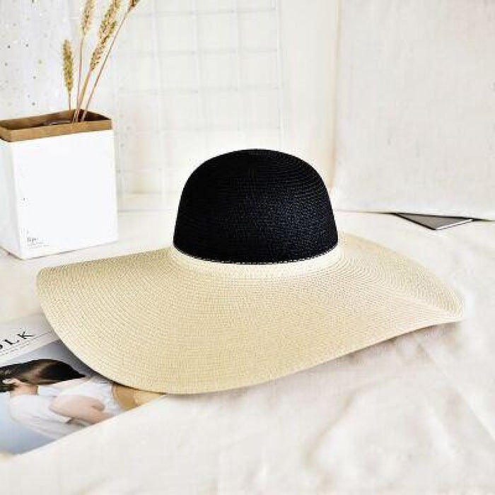 Fashion Straw Casual Big Wide Brim Floppy Hats | Bridelily - beige - floppy hats