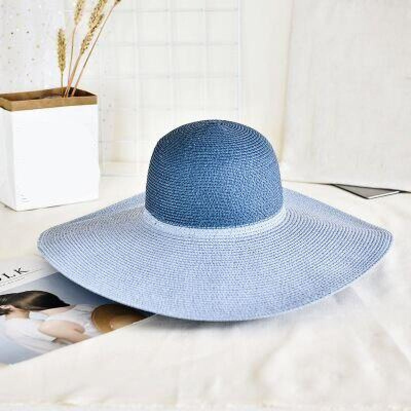 Fashion Straw Casual Big Wide Brim Floppy Hats | Bridelily - Blue - floppy hats