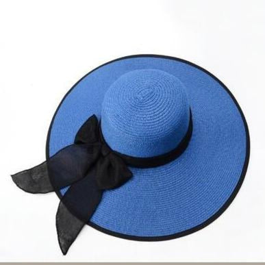 Fashion Straw Wide Brim Bow-Knot Floppy Hats | Bridelily - Royal blue - floppy hats