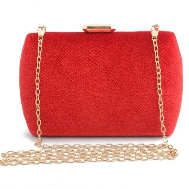 Fashion Suede Clutches Clain Wedding Handbags | Bridelily - red / Mini(Max Length<20cm) - wedding handbags