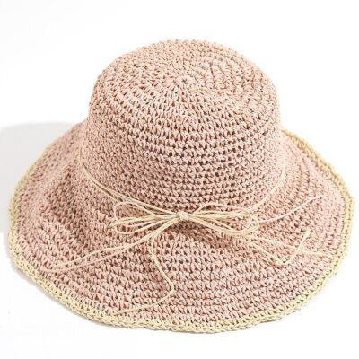 Fashion Sun Wide Brim Foldable Bowknot Straw Hats | Bridelily - pink - floppy hats