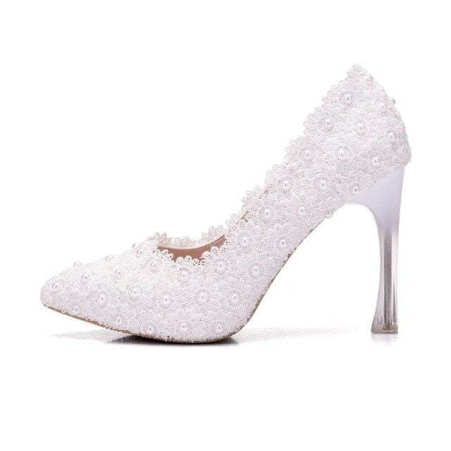 Fashion Sweet Pumps Princess Wedding Pumps | Bridelily - white / 34 - wedding pumps