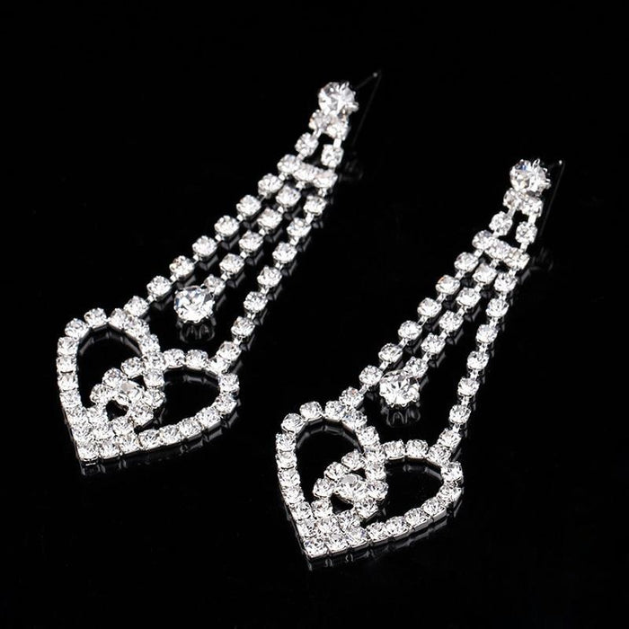Fashion Tassel Heart Crystal Bridal Earrings | Bridelily - earrings
