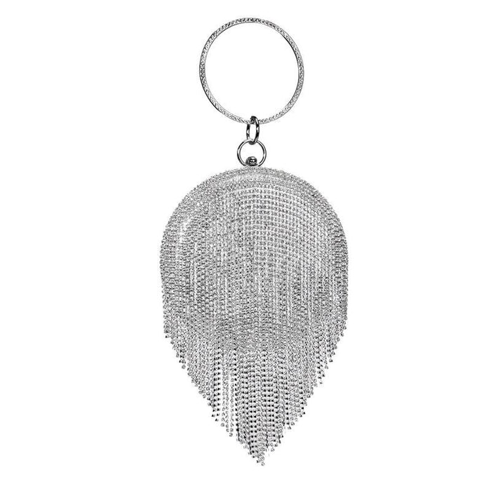 Fashion Tassel Rhinestones Wedding Handbags | Bridelily - YM8210silver - wedding handbags