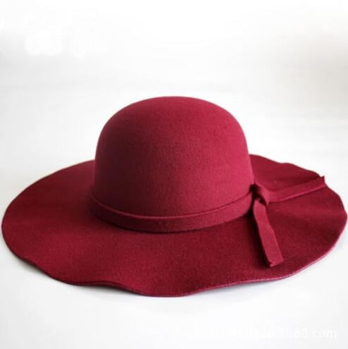 Fashion Wide Brim Felt Bowknot bowler/cloche hats | Bridelily - Wine Red - bowler/cloche hats