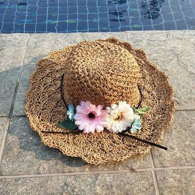 Fashion Wide Brim Straw With Flower Beach/Sun Hats | Bridelily - Khaki - bowler /cloche hats