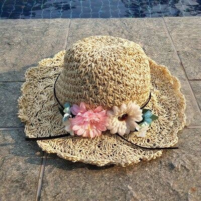 Fashion Wide Brim Straw With Flower Beach/Sun Hats | Bridelily - bowler /cloche hats