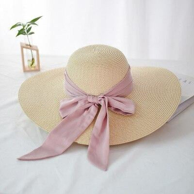 Fashion Wide Brim With Bowknot Straw Hats | Bridelily - beige - straw hats