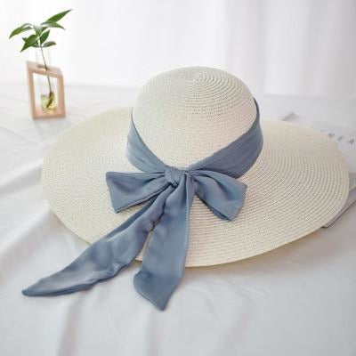 Fashion Wide Brim With Bowknot Straw Hats | Bridelily - milky white - straw hats