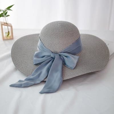 Fashion Wide Brim With Bowknot Straw Hats | Bridelily - gray - straw hats
