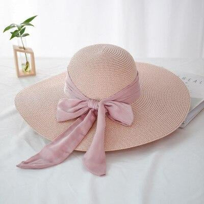 Fashion Wide Brim With Bowknot Straw Hats | Bridelily - pink - straw hats