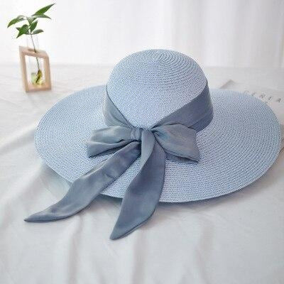 Fashion Wide Brim With Bowknot Straw Hats | Bridelily - light blue - straw hats
