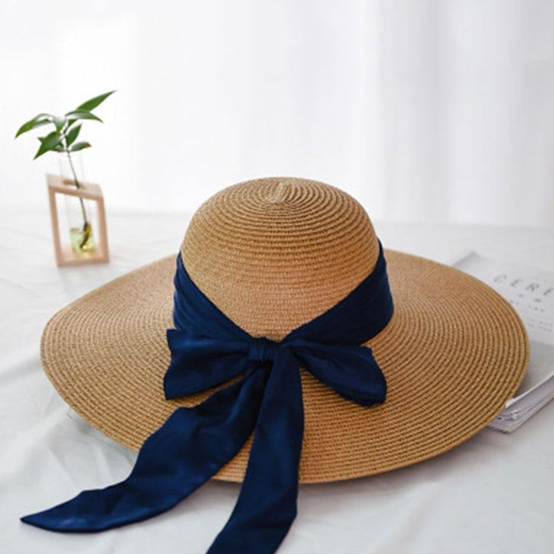 Fashion Wide Brim With Bowknot Straw Hats | Bridelily - straw hats