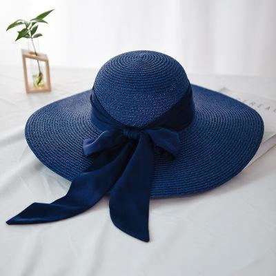 Fashion Wide Brim With Bowknot Straw Hats | Bridelily - navy - straw hats