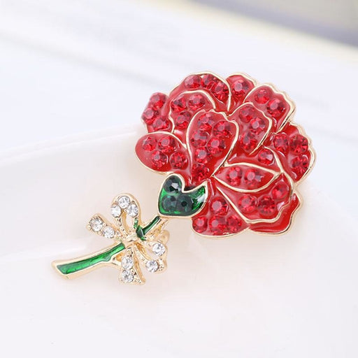 Fashionable Crystal Red Flower Wedding Brooches | Bridelily - brooches
