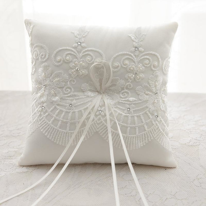 Faux Pearl With Rhinestone Ring Pillows | Bridelily - ring pillows
