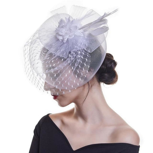 Feather Mesh Dot Veil Cocktail Tea Party Hats | Bridelily - tea party hats