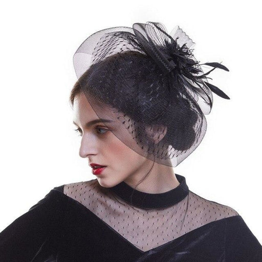Feather Mesh Dot Veil Cocktail Tea Party Hats | Bridelily - Black - tea party hats