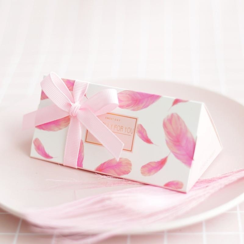 Feather Pink Chocolate With Ribbon Favor Holders | Bridelily - 20 PCS - favor holders