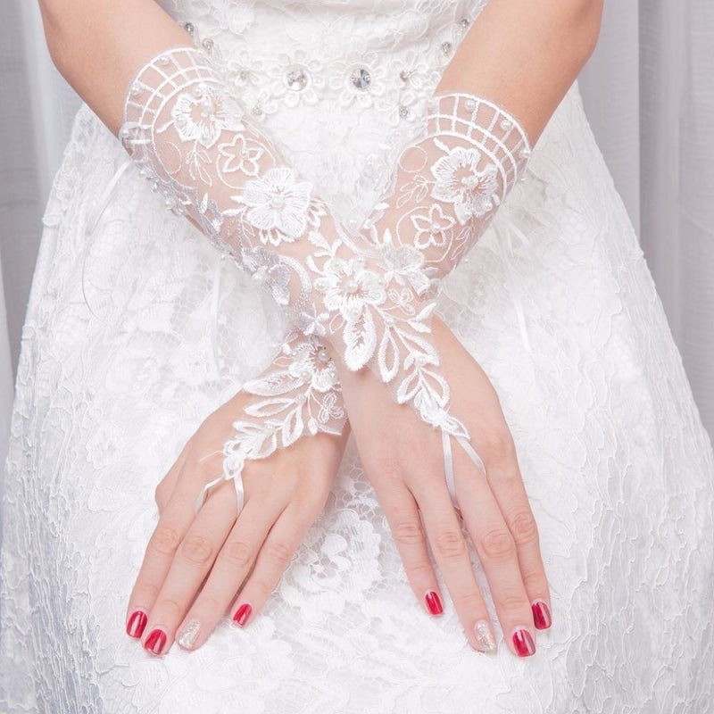 Fingerless Flower Rhinestone Short Wedding Glove | Bridelily - wedding gloves