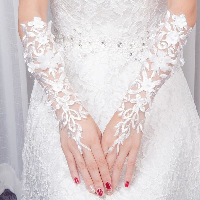 Fingerless Lace Flower Pearls Wedding Gloves | Bridelily - wedding gloves
