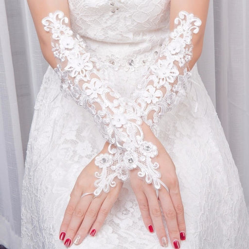 Fingerless Lace with Flowers Wedding Glove | Bridelily - wedding gloves