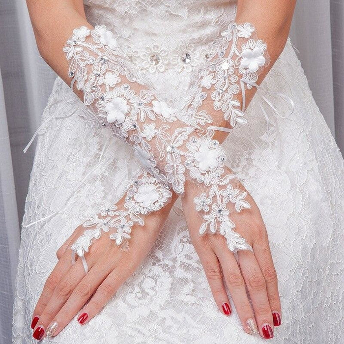 Fingerless White Lace with Beaded Wedding Glove | Bridelily - wedding gloves