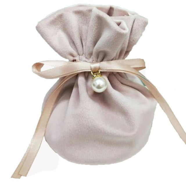 Flannel Jewelry Bags With Pearls Favor Holders | Bridelily - Light Pink / 9x12cm / 10pcs - favor holders