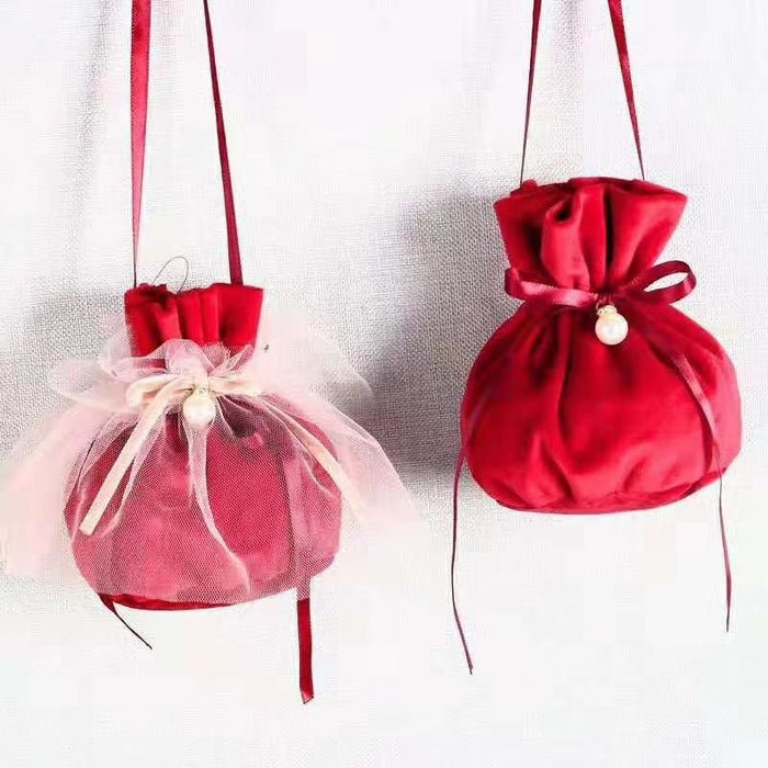 Flannel Jewelry Bags With Pearls Favor Holders | Bridelily - favor holders