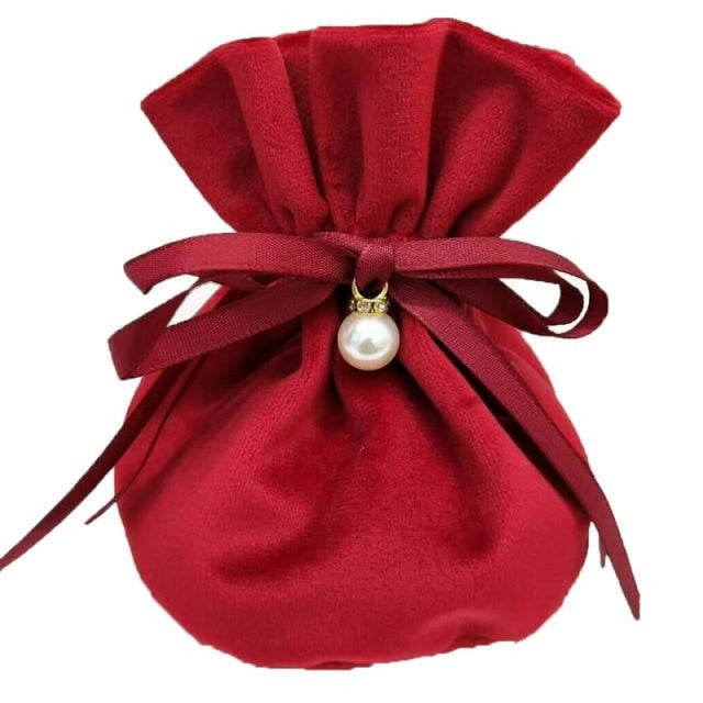 Flannel Jewelry Bags With Pearls Favor Holders | Bridelily - Red / 9x12cm / 10pcs - favor holders