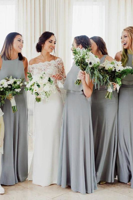 Floor Length Sleeveless Chiffon Long Silver Bridesmaid Dress - Bridesmaid Dresses