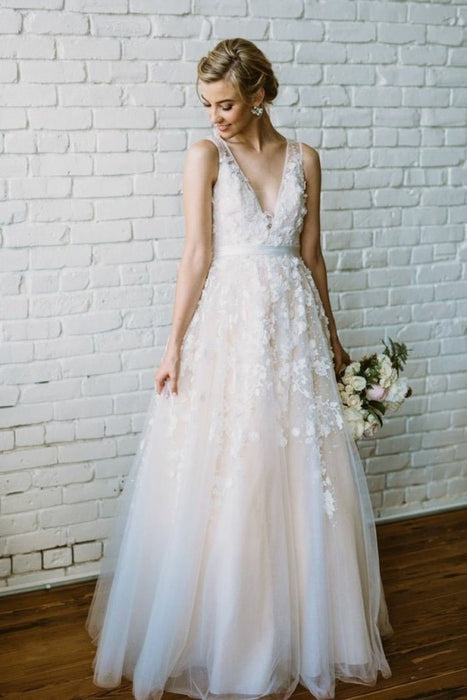 Floor Length V Neck Lace Applique Beach Puffy Tulle Wedding Dress - Wedding Dresses