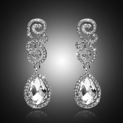 Floral Crystal Silver Plated Long Earrings | Bridelily - earrings