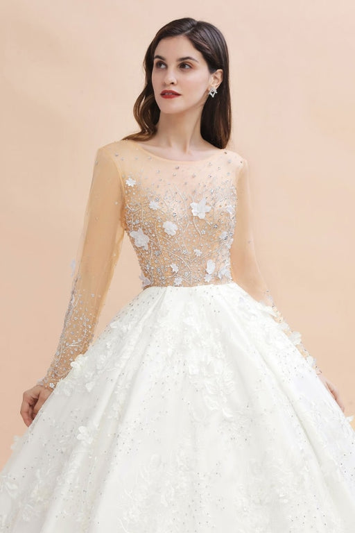 Floral Jewel Crystal Beads Long Sleeve Sheer Tulle Ball Gown Wedding Dress - wedding dresses