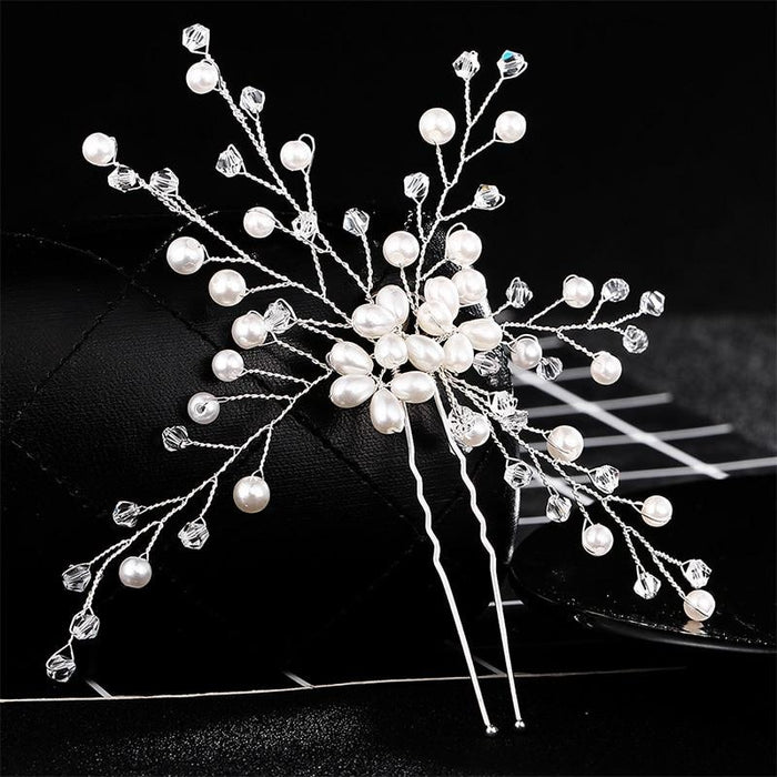 Floral Pave Pearl Beaded Flower Hairpins | Bridelily - Ivory-white - hairpins