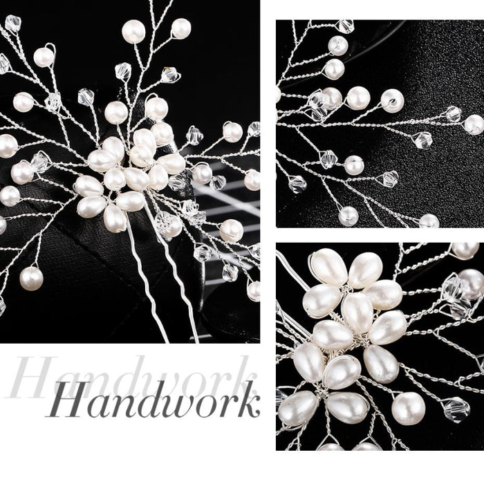 Floral Pave Pearl Beaded Flower Hairpins | Bridelily - hairpins