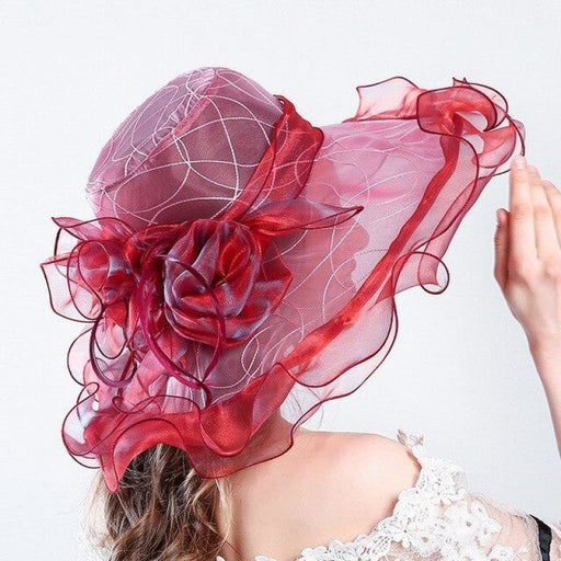 Floral Ruffles Wide Large Brim Kentucky Derby Hats | Bridelily - kentucky derby hats