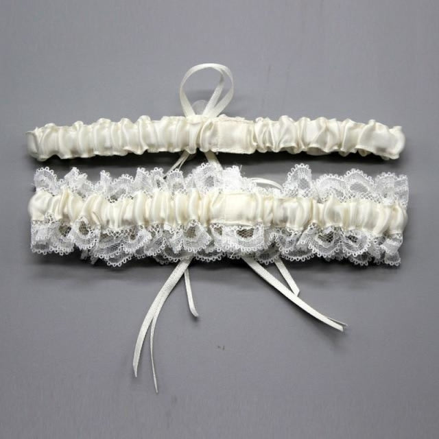 Floral Stretch Lace Handmade Wedding Garters | Bridelily - color - garters