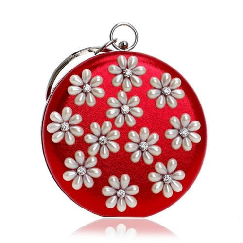Flower Beaded Circular Chain Wedding Handbags | Bridelily - YM1204red - wedding handbags