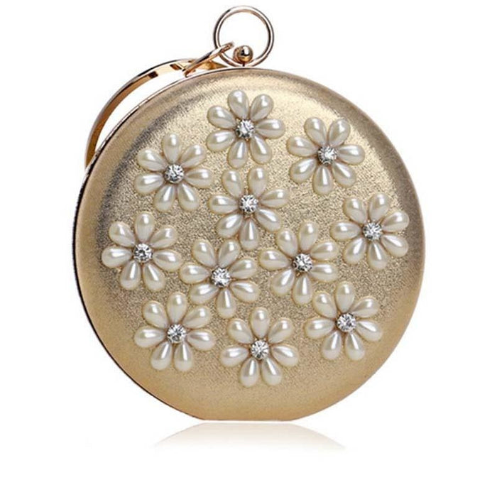 Flower Beaded Circular Chain Wedding Handbags | Bridelily - wedding handbags