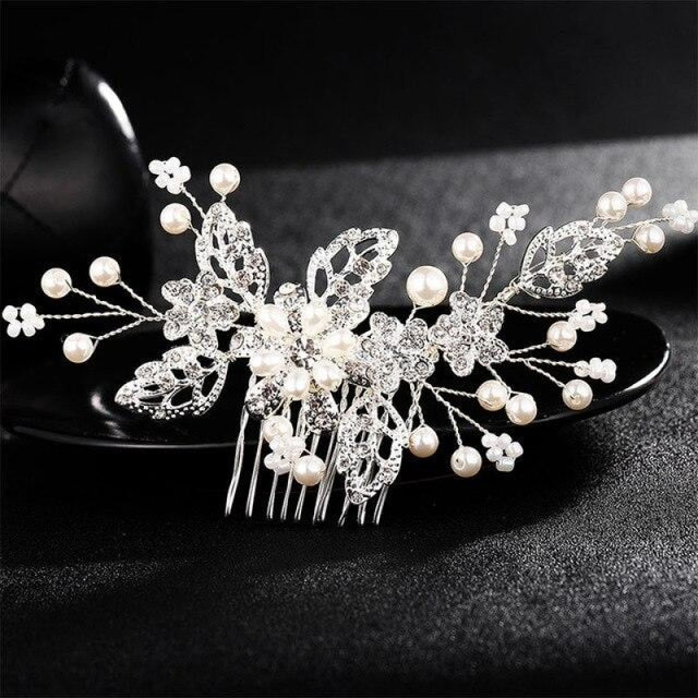Flower Crystal Jewelry Rhinestones Combs & Barrettes | Bridelily - Silver - combs & barrettes